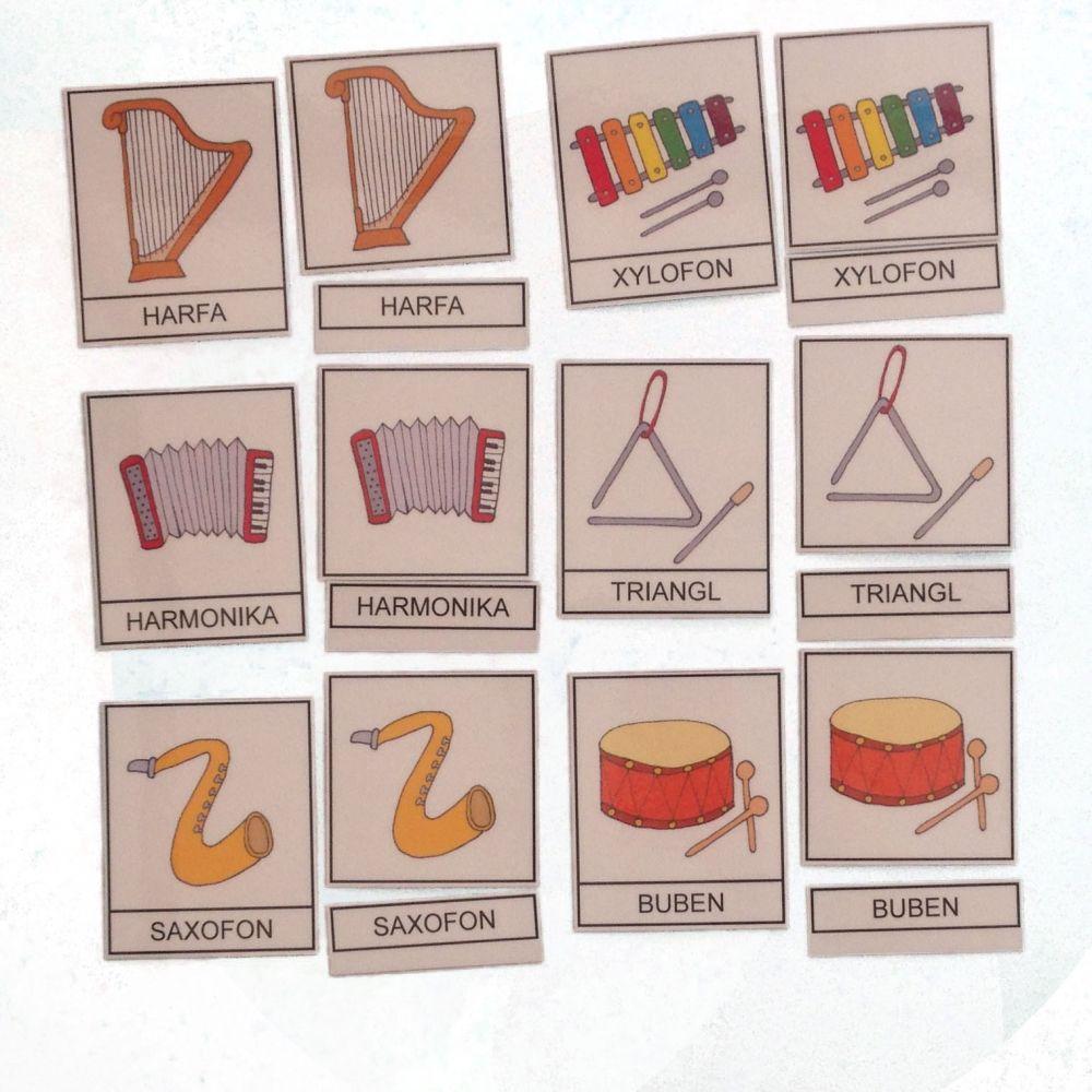 Třísložkové karty - Hudební nástroje